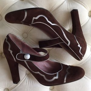 Marni Brown Suede Mary Jane Pump Shoes 6.5
